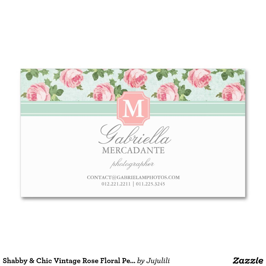 Shabby Chic Vintage Rose Floral Personalised Business Card