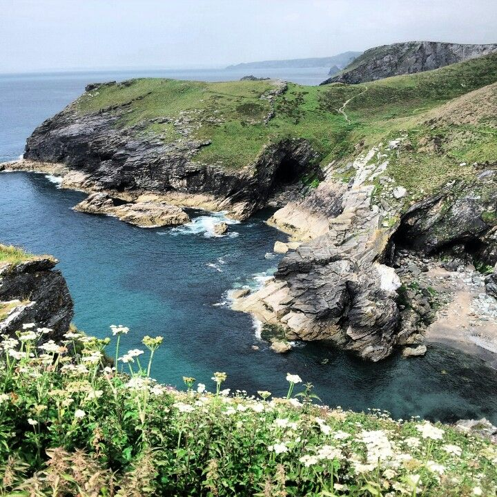 View from Tintagel, up the Atlantic coast of North Cornwall.