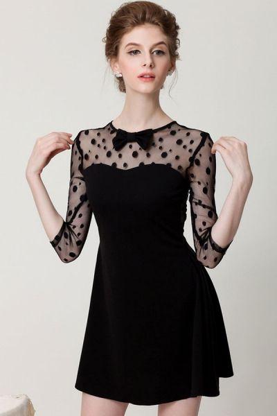 Dotted Little Black Dress - OASAP.com