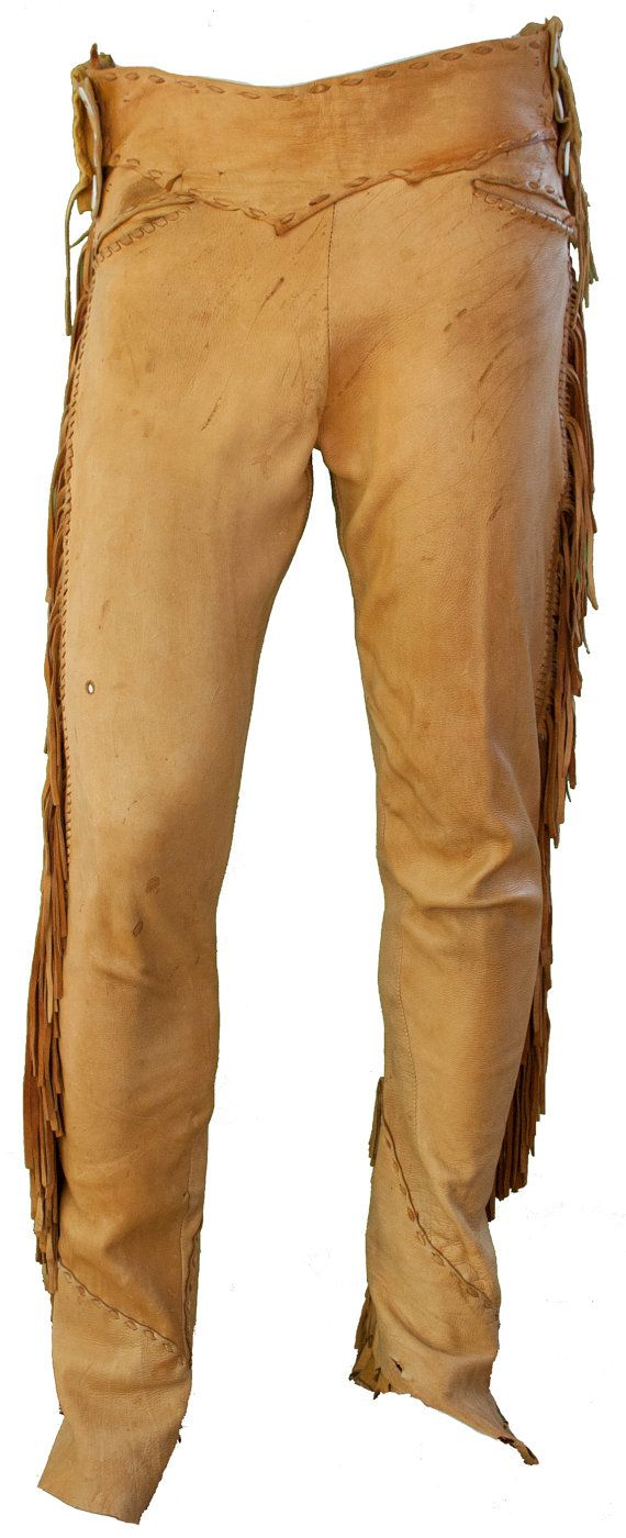 Description  1960s Natural Buckskin Suede Leather Mens Pants with Criss  Cross Stitched Sides   Fringes faddd7a1eb4