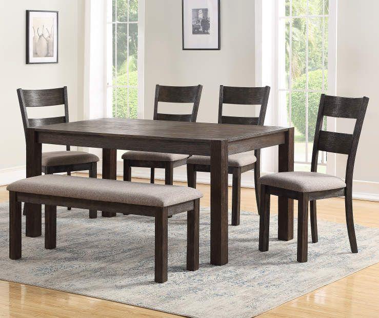 Phenomenal Stratford Hayden Brown 6 Piece Dining Set With Bench Ibusinesslaw Wood Chair Design Ideas Ibusinesslaworg