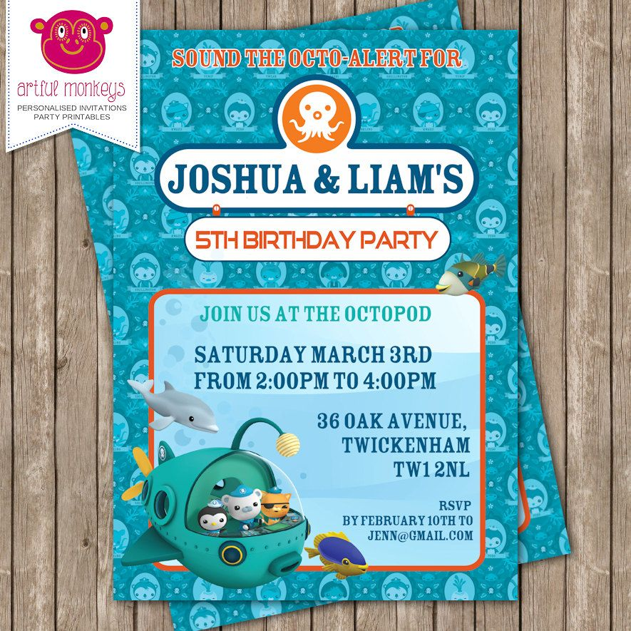 Personalised Octonauts Invitation DIY Printable or Printed for You
