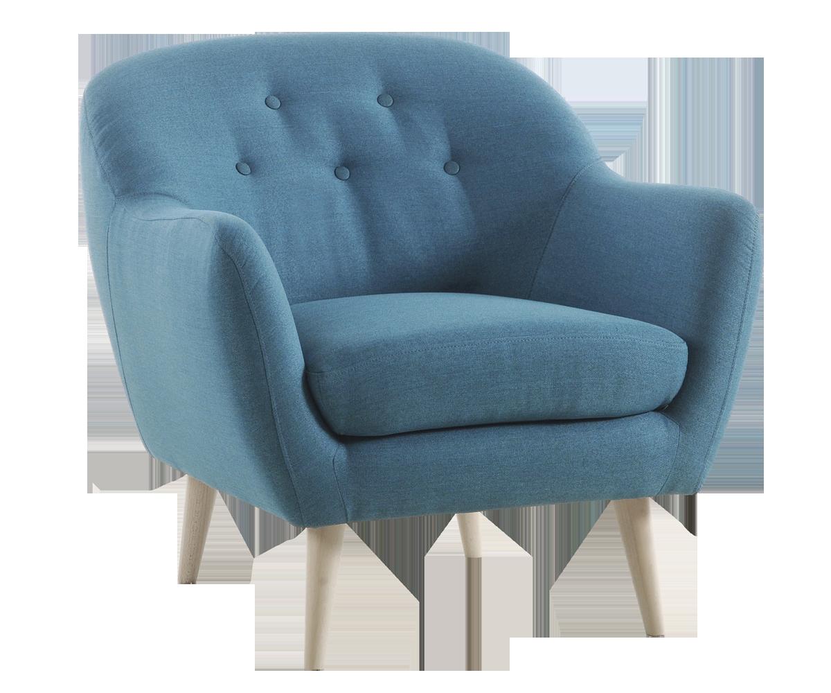 Nuorekas, retrohenkinen sohva ja lepotuoli napitetulla selkänojalla. Corsica-kankaan värit turkoosi ja harmaa.