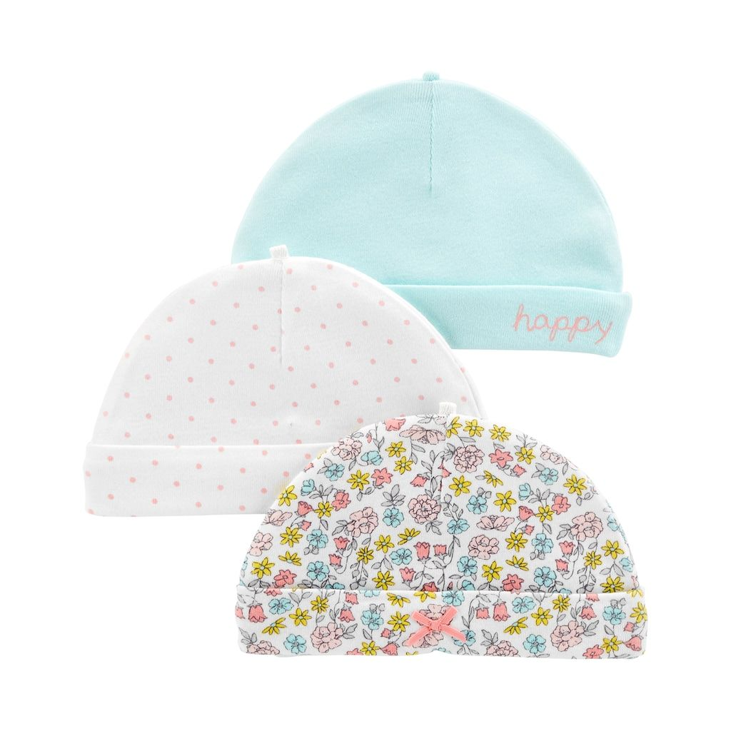 Baby Girl Carter s 3-Pack Print   Solid Hats  867660589153