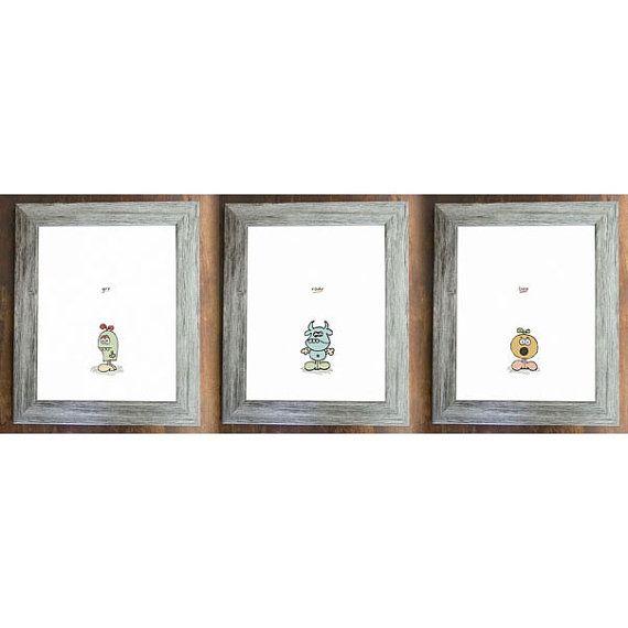 Set of 3 Little Monsters Nursery or Playroom by anniebeeandme, $19.00