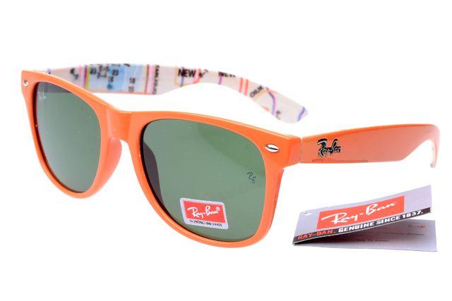 ray ban wayfarer 2140 orange pattern frame green lens rb1099 rb 1107