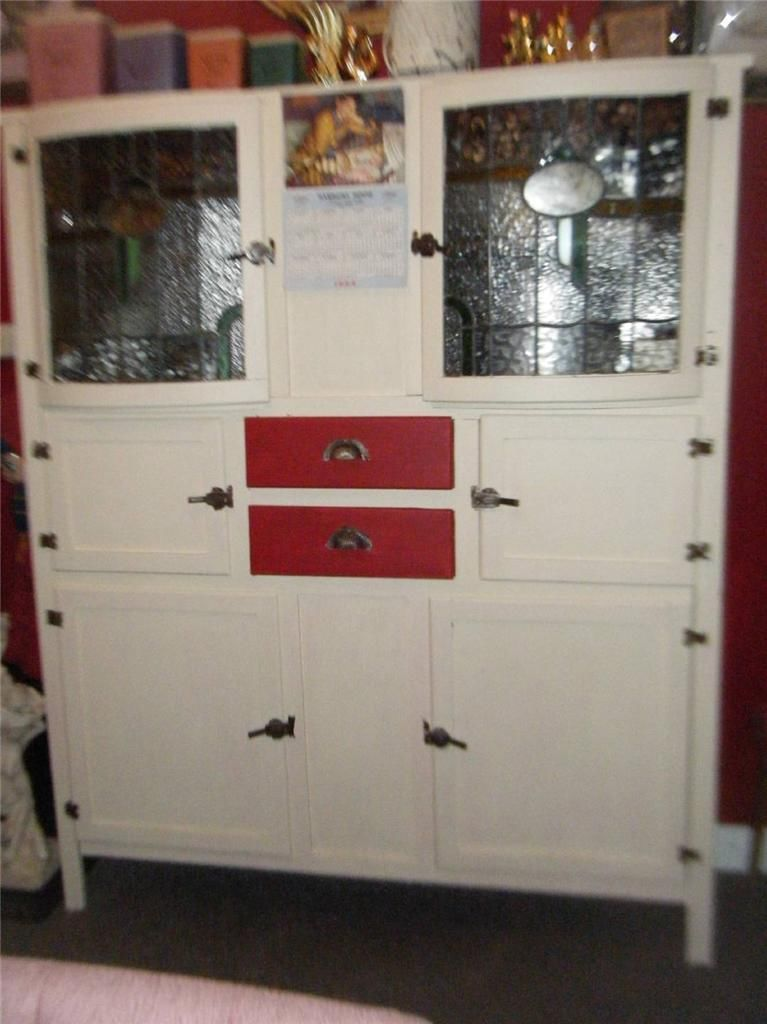 Upcycled ART Deco BOW Front Leadlight Kitchen Dresser Cabinet ...