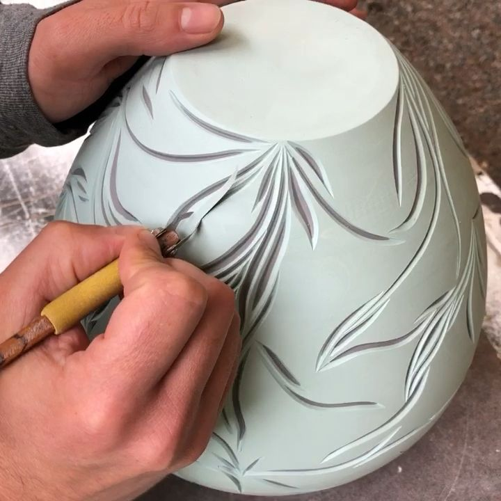 Process carving layered porcelain vase