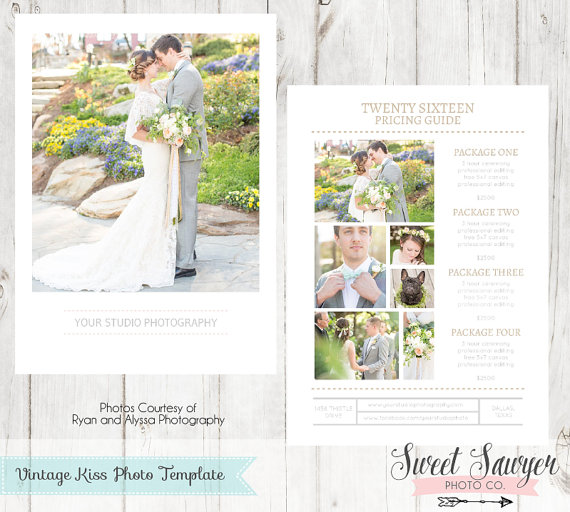 Vintage Kiss Photography Price List Template For Photography