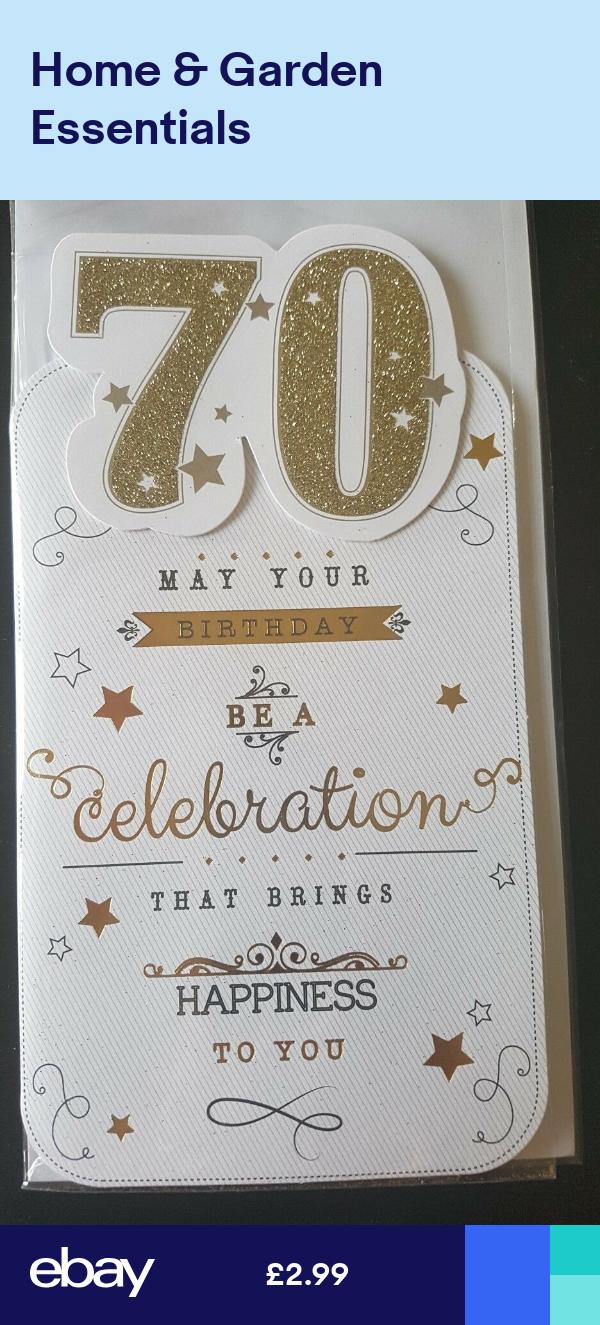 Happy 70th Birthday Card MaleFemale high quality gold