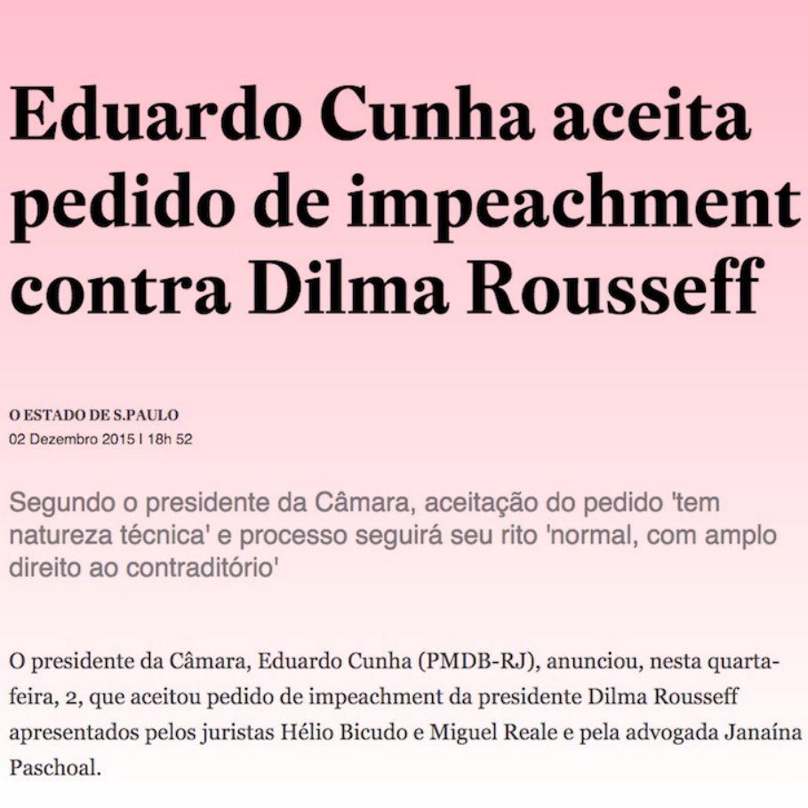 Eduardo Cunha aceita pedido de impeachment contra Dilma Rousseff ➤ http://politica.estadao.com.br/noticias/geral,eduardo-cunha-aceita-pedido-de-impeachment-contra-dilma-rousseff,10000003662 ②⓪①⑤ ①② ⓪② #Impeachment