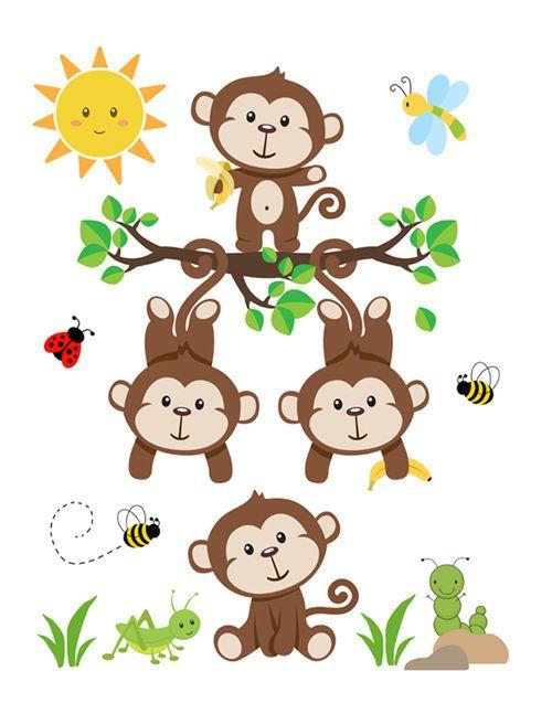 Monkey Wall Art Decal Nursery Baby Mural Stickers Safari ...