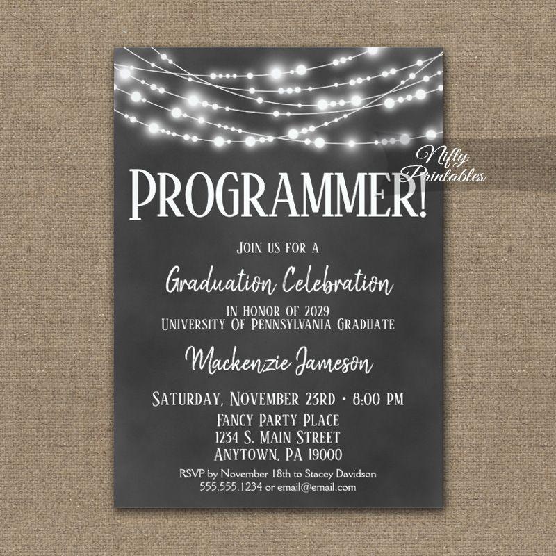 Computer Programmer Graduation Invitation Chalkboard Lights PRINTED ...