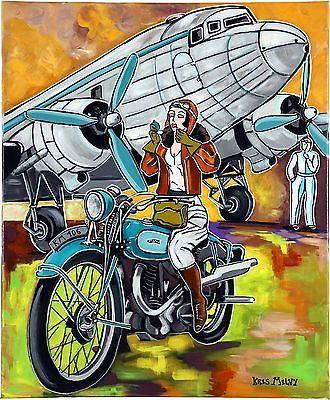 """Tableau peinture Art Deco Avion Aviation """" L'aviatrice sur sa moto """" KRIS MILVY https://t.co/vSrwB7j1gF #Decoration https://t.co/vGZefELiX7"""