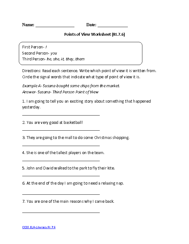 Free Point Of View Worksheets Delibertad – Point of View Worksheets