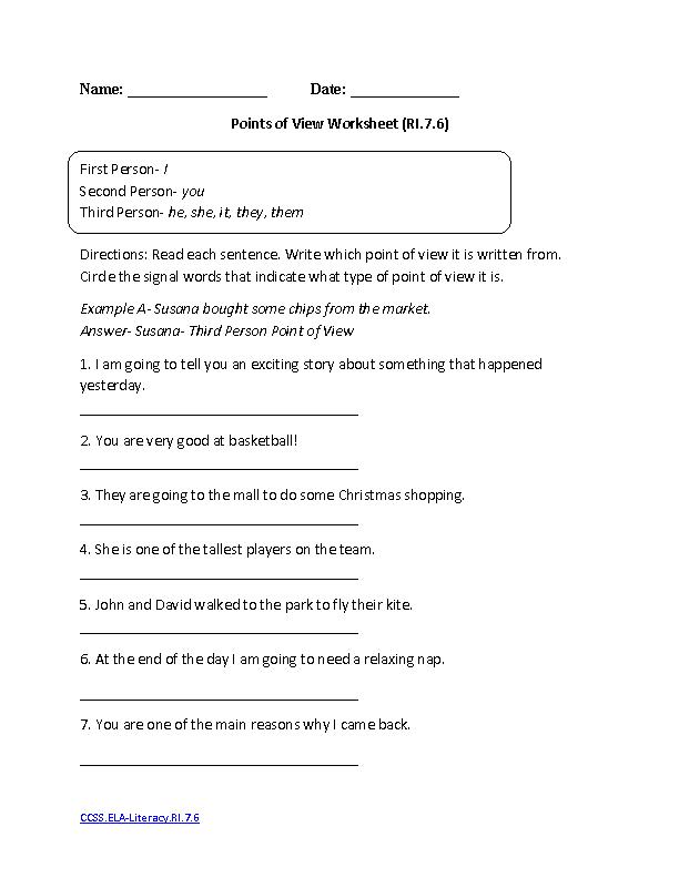 Points of View Worksheet ELA-Literacy.RI.7.6 Reading Informational ...