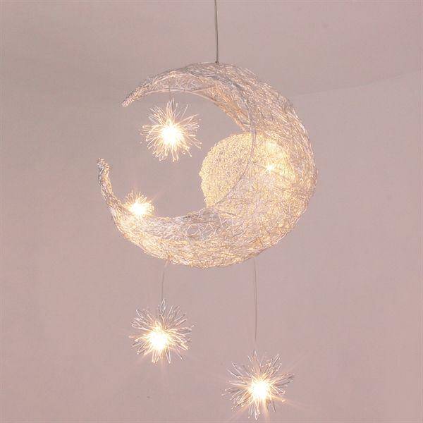 (In Stock) LED Pendelleuchte Mond Stern Design 5 flammig im Kinderzimmer