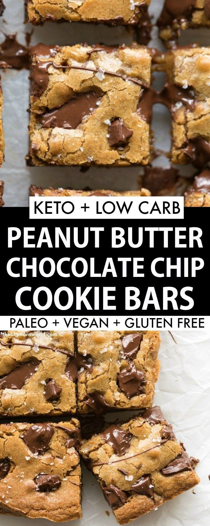 Keto Peanut Butter Chocolate Chip Cookie Bars are a keto, vegan and low carb dessert that is soft, chewy and gooey in one! The perfect paleo and sugar free dessert! #ketodessert