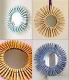 round mirror with clothes pegs