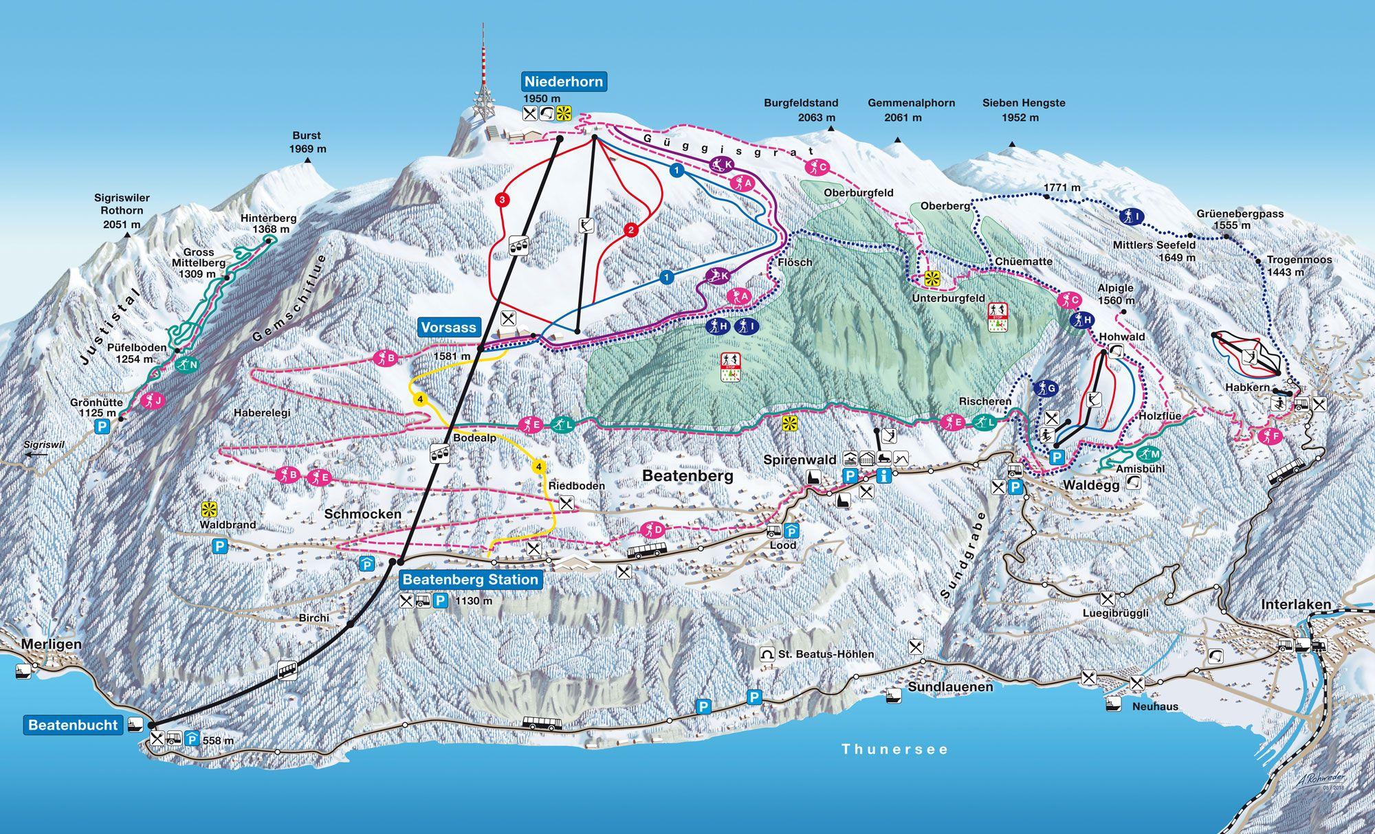 Pistenplan Niederhorn Skiing Pistenplan Panoramakarte