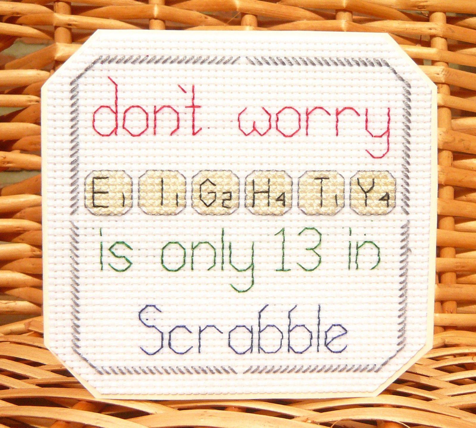 30th, 40th, 50th 60th 70th, 80th & 90th Scrabble Birthday Card⭐️Cross Stitch Kit in Crafts, Cross Stitch, Cross Stitch Kits   eBay