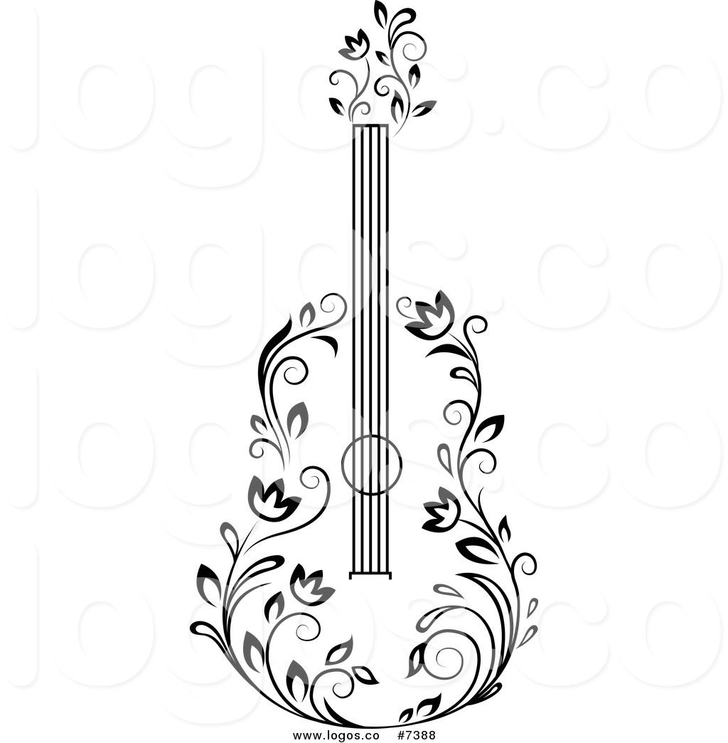 Royalty Free Clip Art Vector Black And White Floral Guitar
