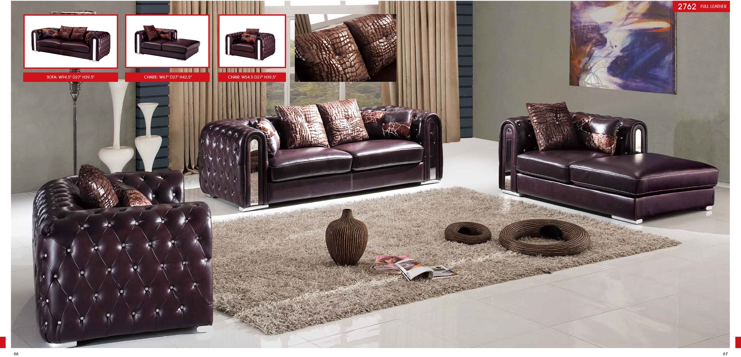 Full Leather Chair 2762 Living Room Sets Furniture Modern Living Room Furniture Sets 3 Piece Living Room Set