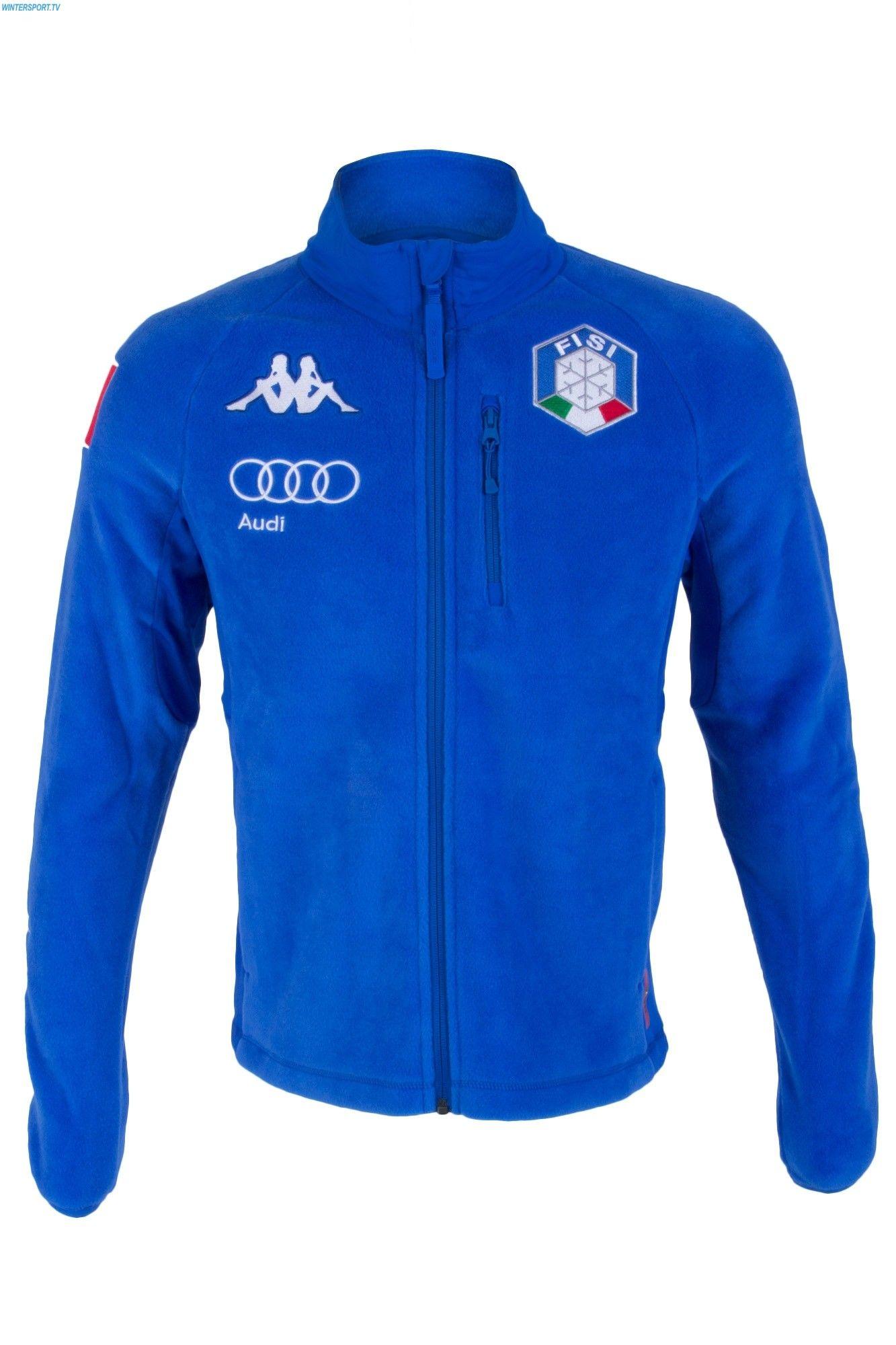 kappa men italian alpine team fisi fleece jacket blue princess  kappa men italian alpine team fisi fleece jacket blue princess white