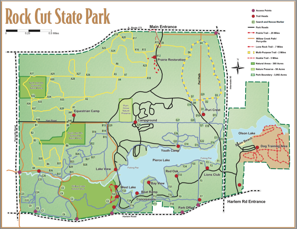 Rock Cut State Park Map around Roscoe, il | State Parks | Pinterest ...