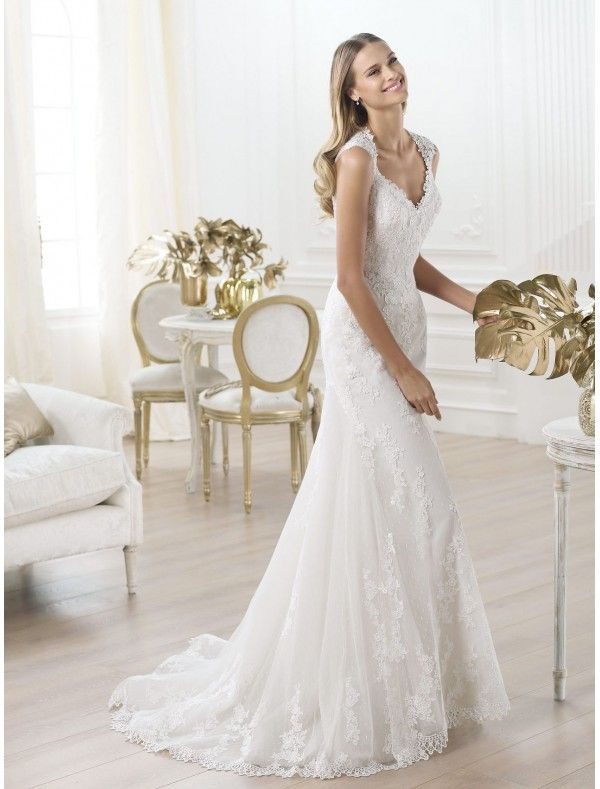 Tulle and Lace Sweetheart Neckline Wedding Dress with Cap Sleeves ...