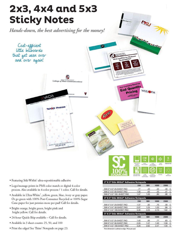2x3, 4x4 and 5x3 Sticky Notes Sticky notes, Sticky