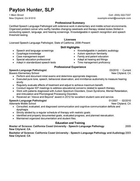 speech language pathology resume cover letter can your png resumeg - sample speech pathology resume