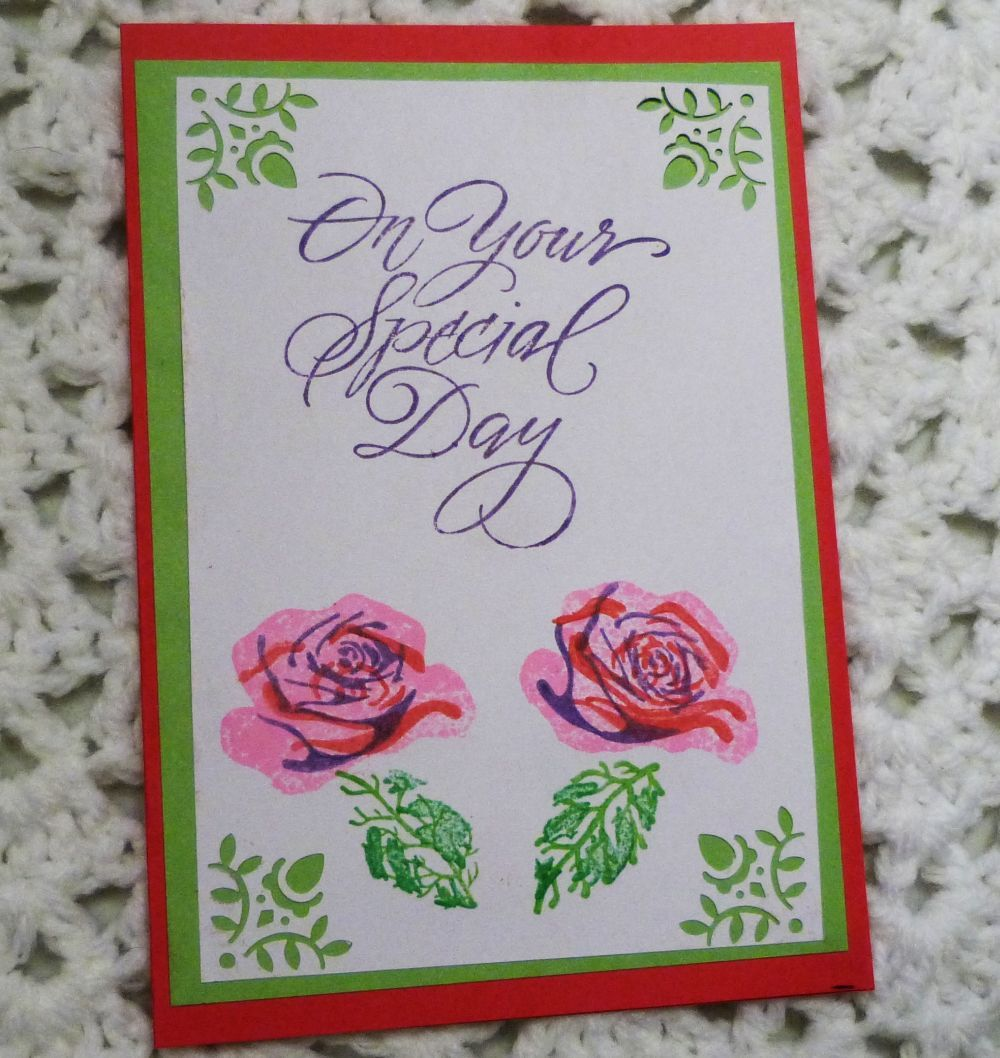 On Your Special Day Handmade Greeting Card Handstamped Floral