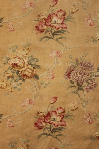 French Linen Fabric Old Curtain Antique Material Upholstery Flowers