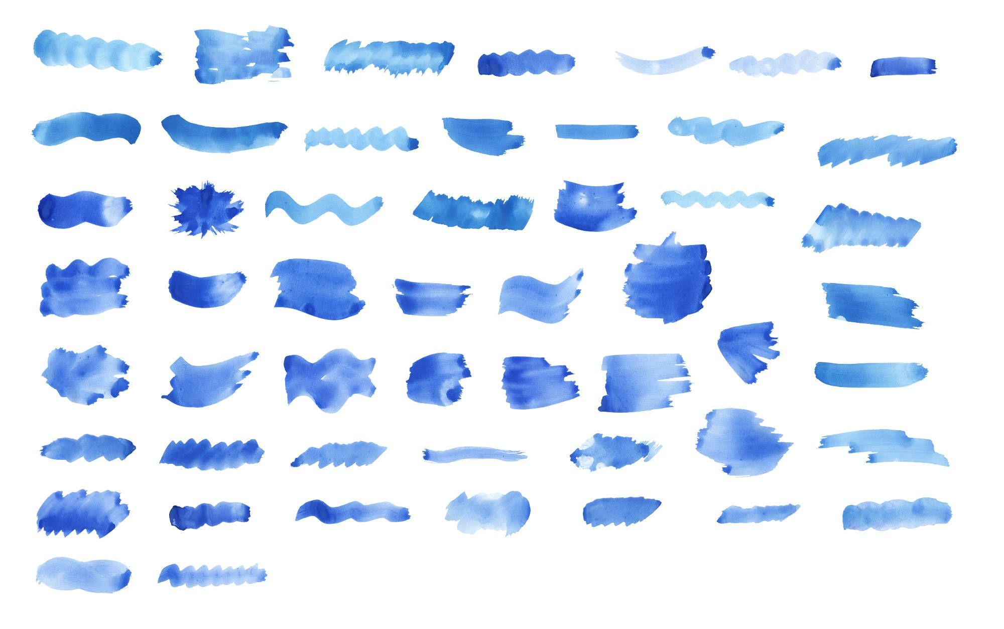52 Blue Watercolor Brush Stroke Png Transparent Vol 4 Onlygfx Com Brush Stroke Png Blue Watercolor Watercolor Brushes