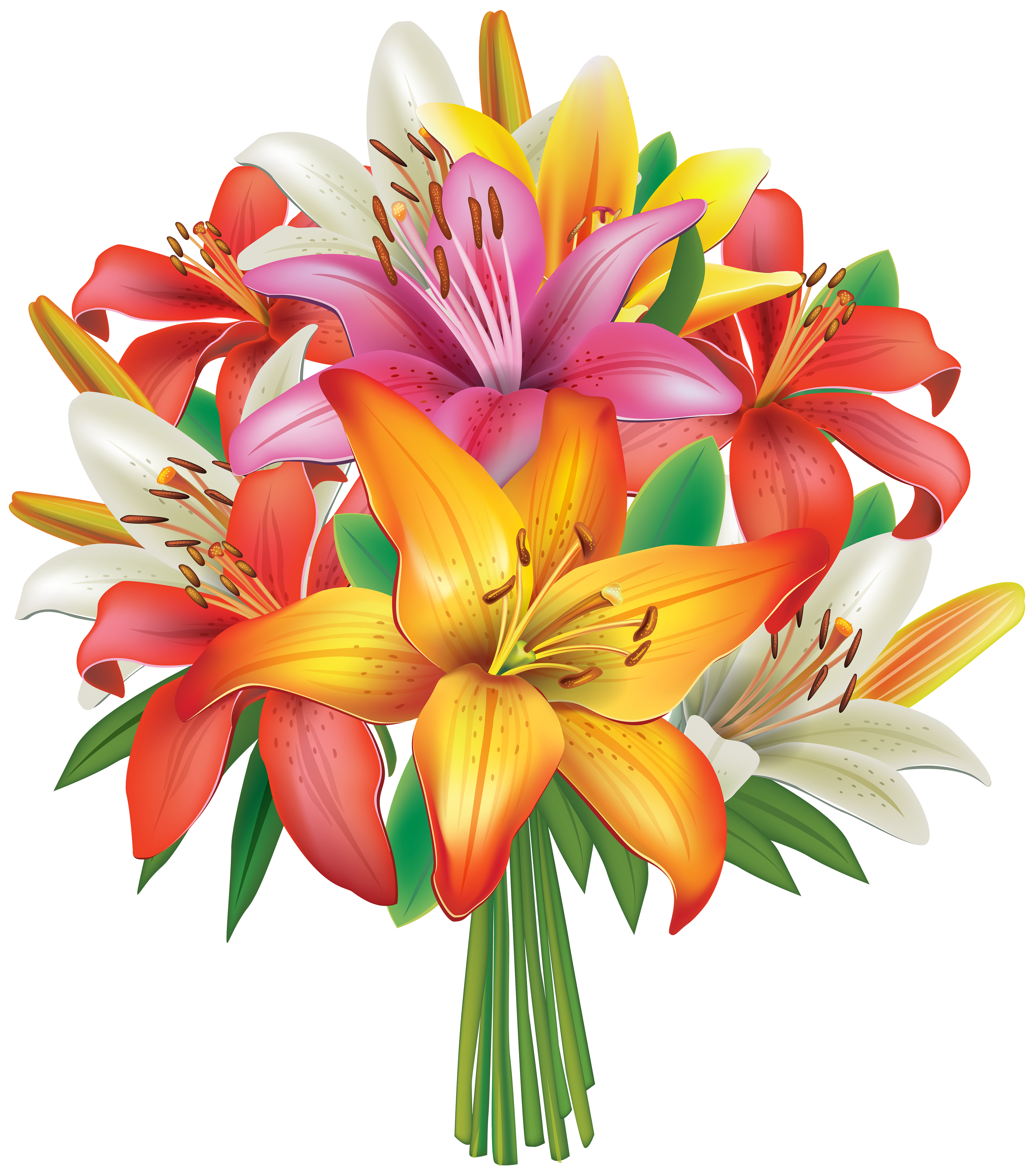 Lilies Flowers Bouquet PNG Clipart Image Gallery