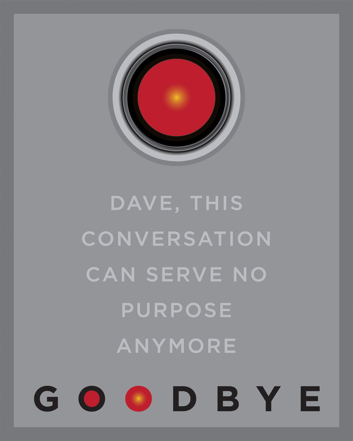 Hal 9000 Quotes HAL 9000, 2001 Space Odyssey, Goodbye Quote, 8x10 inch Print  Hal 9000 Quotes