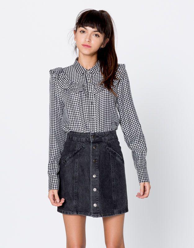Camisa cuadro vichy - Blusas y camisas - Ropa - Mujer - PULL BEAR España a06489f15dc2