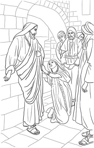 Jesus Heals Canaanite Woman's Daughter Coloring page