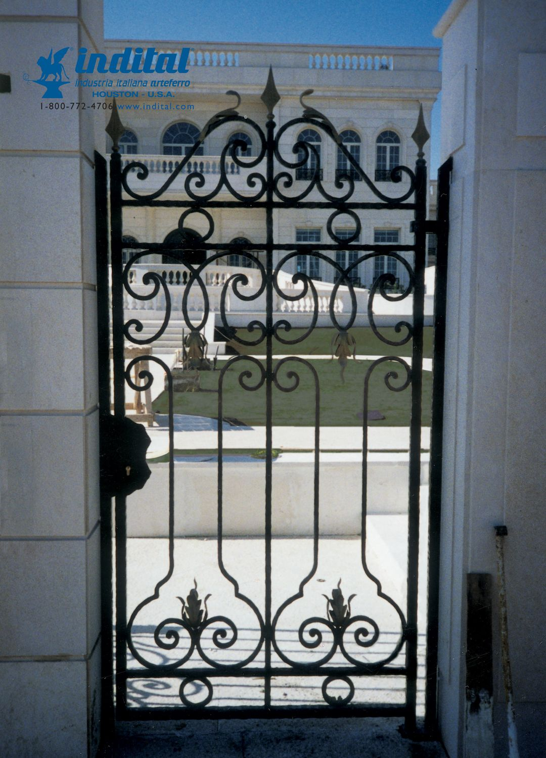 Our Wrought Iron Bars And Scrolls Make An Elegant Gate Wrought Iron Stairs Wrought Iron Fences Wrought Iron
