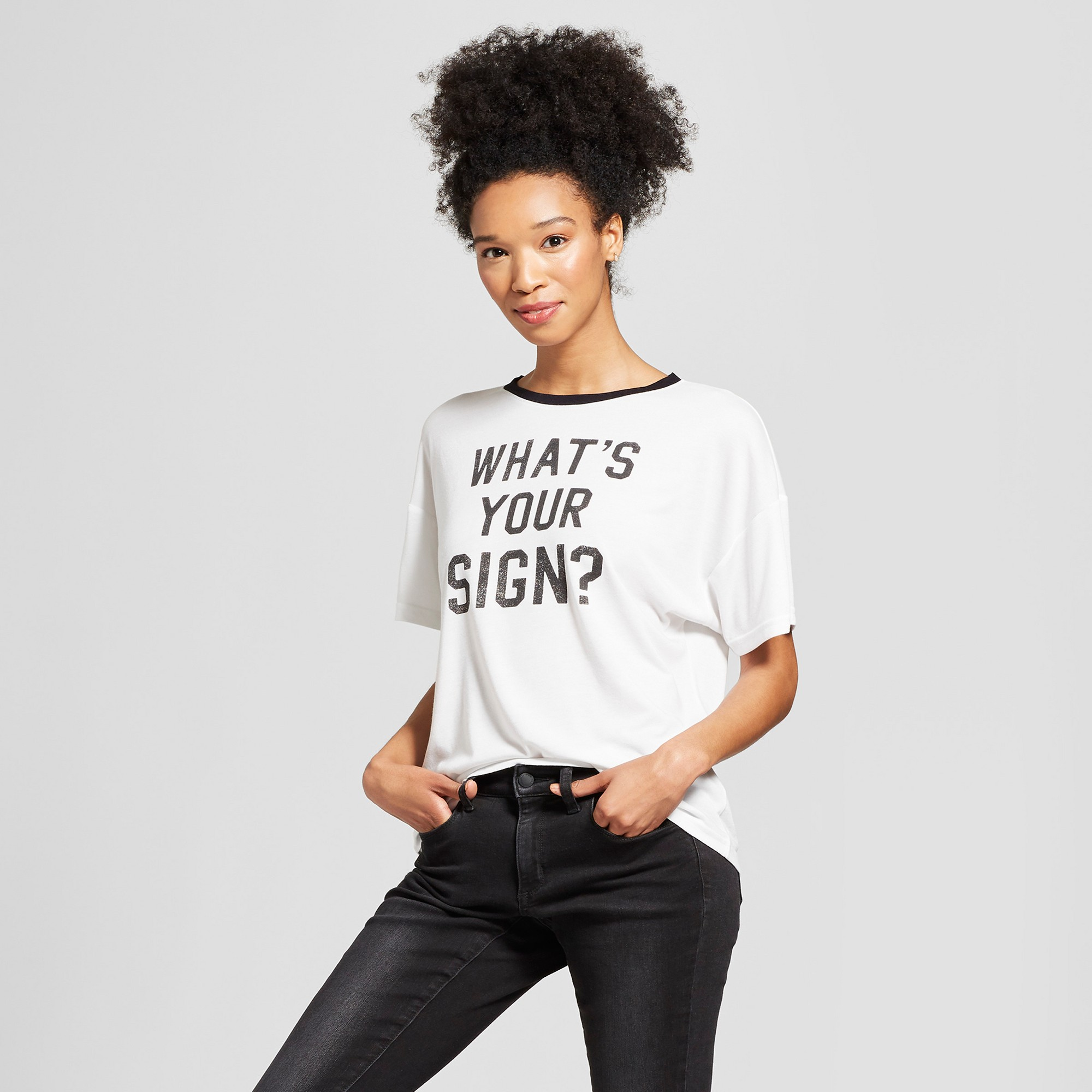 c2f596af2cd Women s Short Sleeve What s Your Sign Graphic T-Shirt - Modern Lux (Juniors )  White Black L