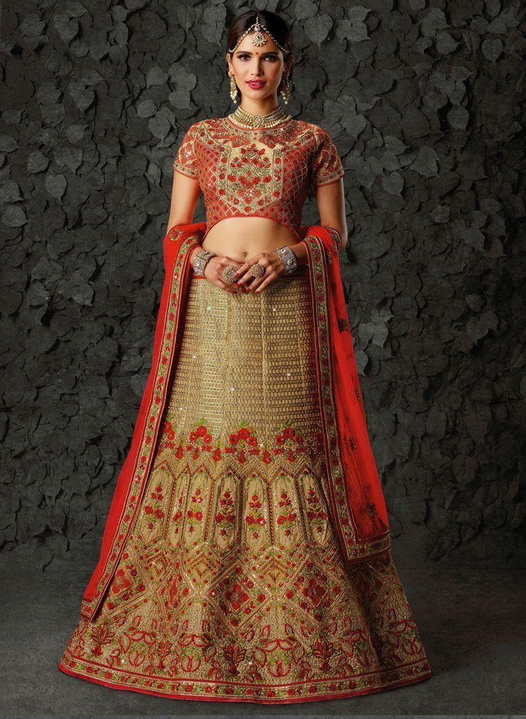 ebd2be3ed Beige Heavy Zari Embroidered Art Silk Bridal Lehenga Choli (Semi-Stitched) # bridal #designer #lehenga #choli #lehengas #Zari #embroidered #rhinestone  ...