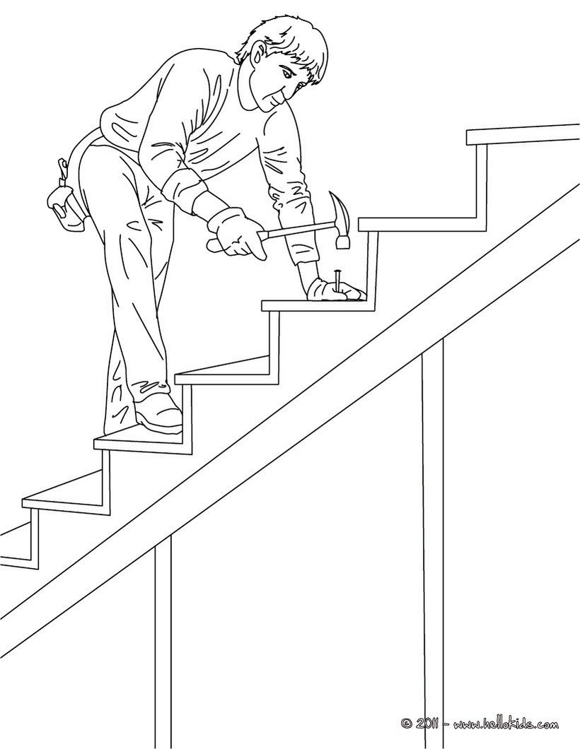 Color this Carpenter on wood stairs coloring page. Amazing way for ...