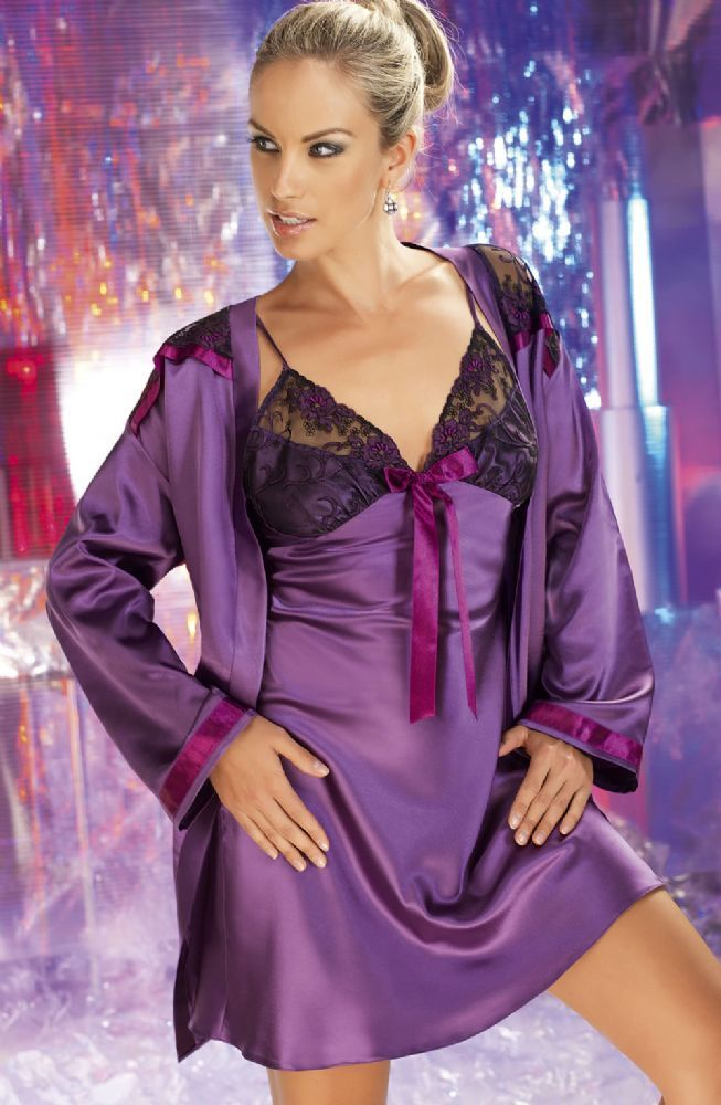 Tiffany dressing gown is available in delicious shades of purple and plum satin  Beautiful lace panels on the shoulders to match the nightdress which f32098c1c