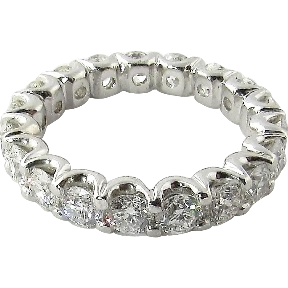 Vintage Platinum Diamond Wedding Eternity Band Size 6 / 2