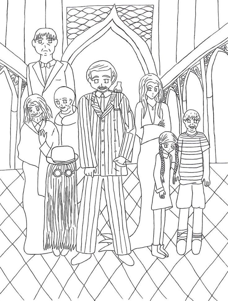 The Addams Family Coloring Page Family Coloring Pages Vintage