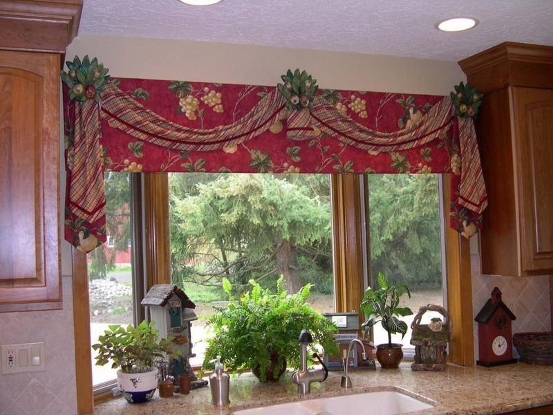 Kitchen Valances Window Treatments Beautiful Red Window
