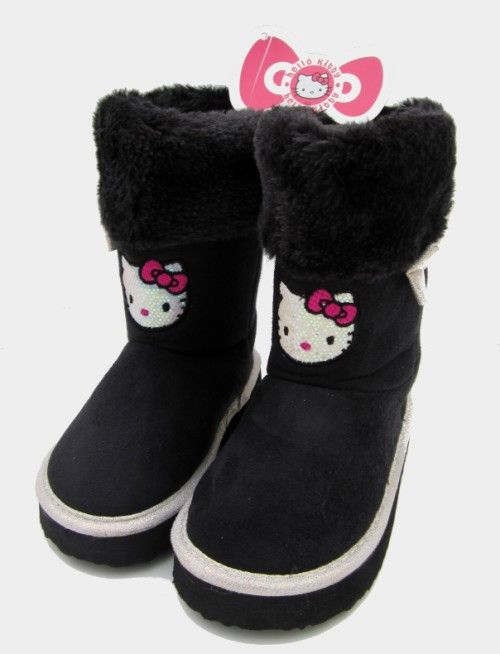 40c2c49abb3a GIRLS SANRIO HELLO KITTY SEQUINED FUR TOPPED BOOTS Girls fantastic Sanrio  Hello Kitty Faux suede Ugg
