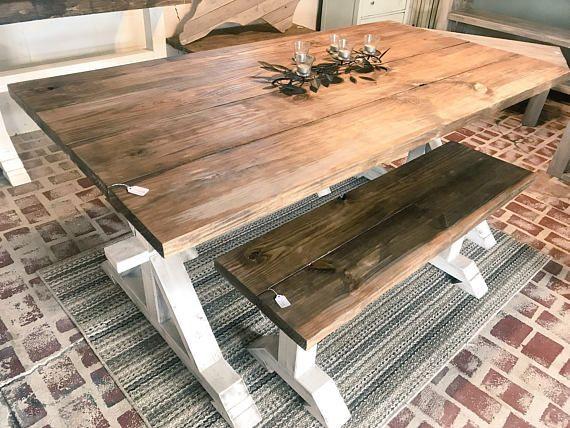 Sensational Rustic Pedestal Farmhouse Table With Benches Provincial Machost Co Dining Chair Design Ideas Machostcouk
