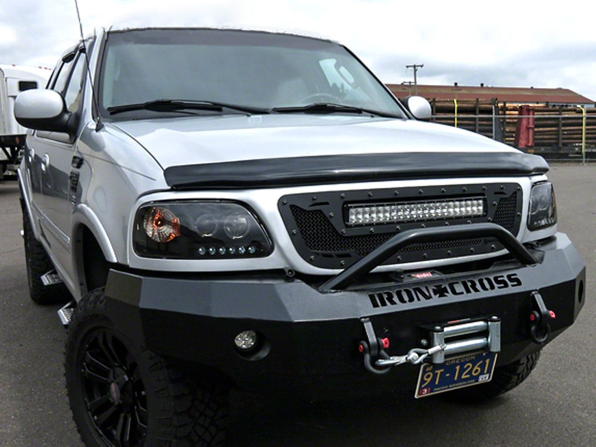 Royalty Core F 150 Rcrx Race Line Grille W Top Mounted 23 In Led Light Bar Satin Black 14920 97 03 F 150 Led Light Bars Top Mount Grilles